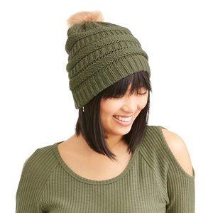 Faux Fur Pom Pom Knit Beanie